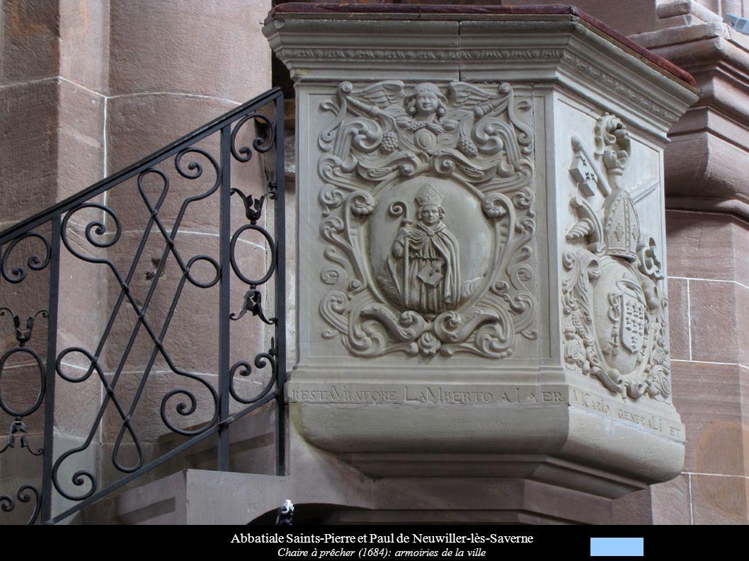 Abbatiale Saints-Pierre et Paul de Neuwiller-lès-Saverne Chaire à prêcher (1684): armoiries de la ville