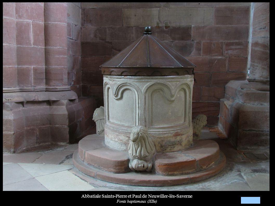 Abbatiale Saints-Pierre et Paul de Neuwiller-lès-Saverne Fonts baptismaux (XIIe)