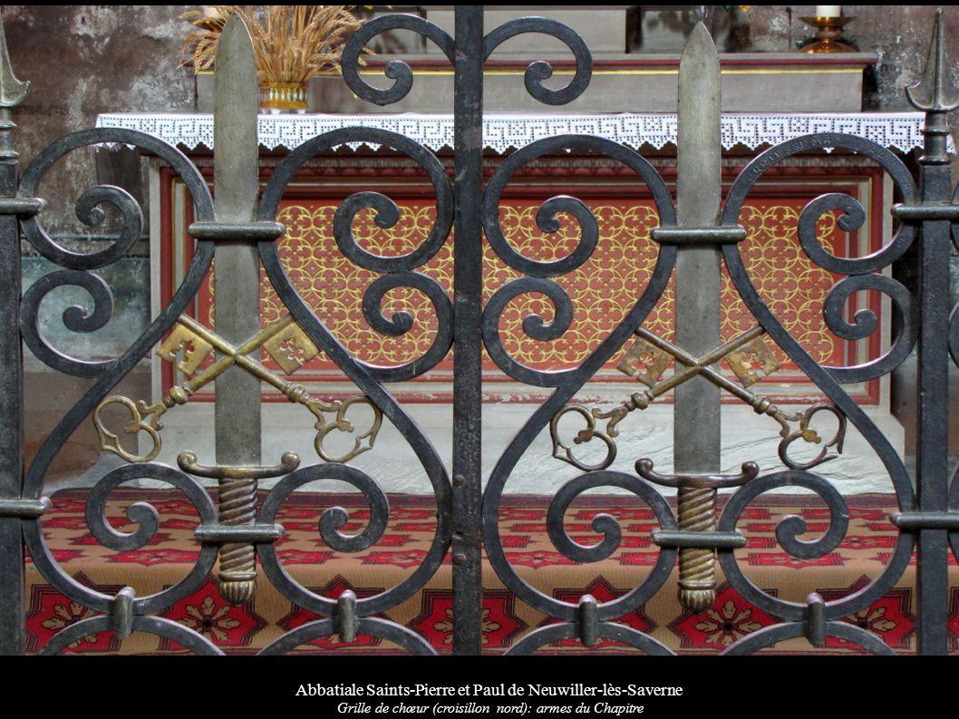 Abbatiale Saints-Pierre et Paul de Neuwiller-lès-Saverne Grille de chœur (croisillon nord): armes du Chapitre