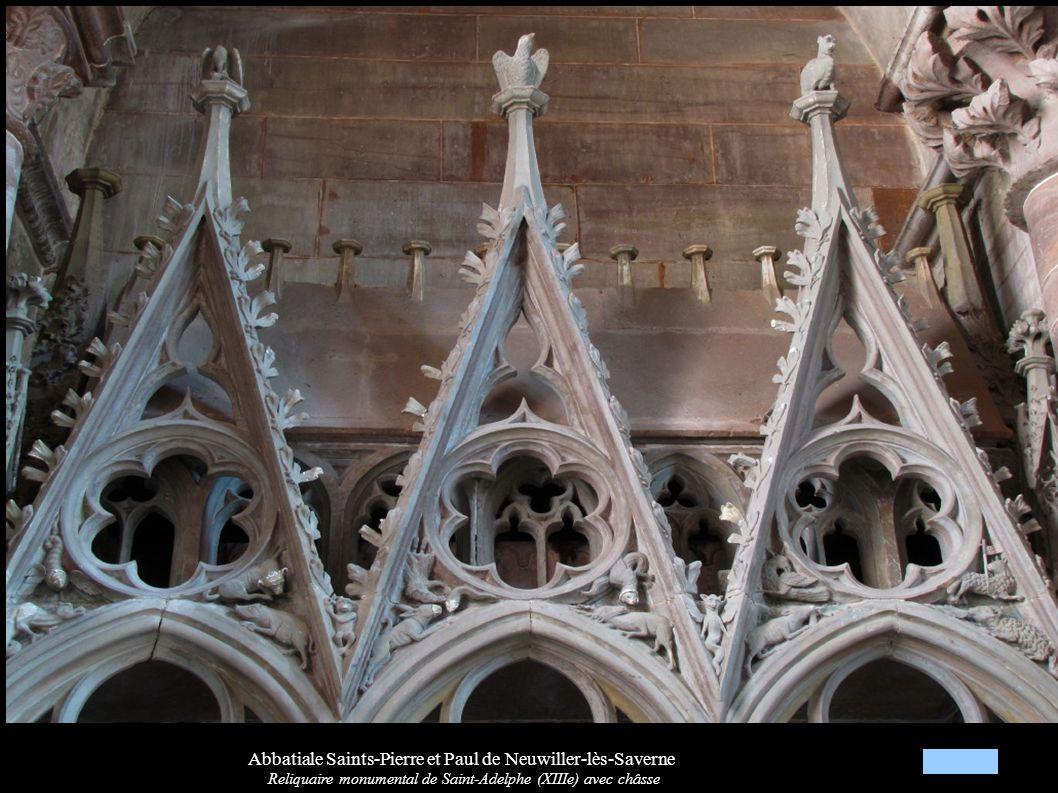 Abbatiale Saints-Pierre et Paul de Neuwiller-lès-Saverne Reliquaire monumental de Saint-Adelphe (XIIIe) avec châsse