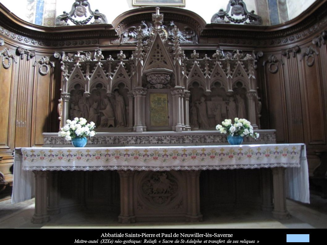 Abbatiale Saints-Pierre et Paul de Neuwiller-lès-Saverne Maître-autel (XIXe) néo-gothique: Reliefs « Sacre de St-Adelphe et transfert de ses reliques