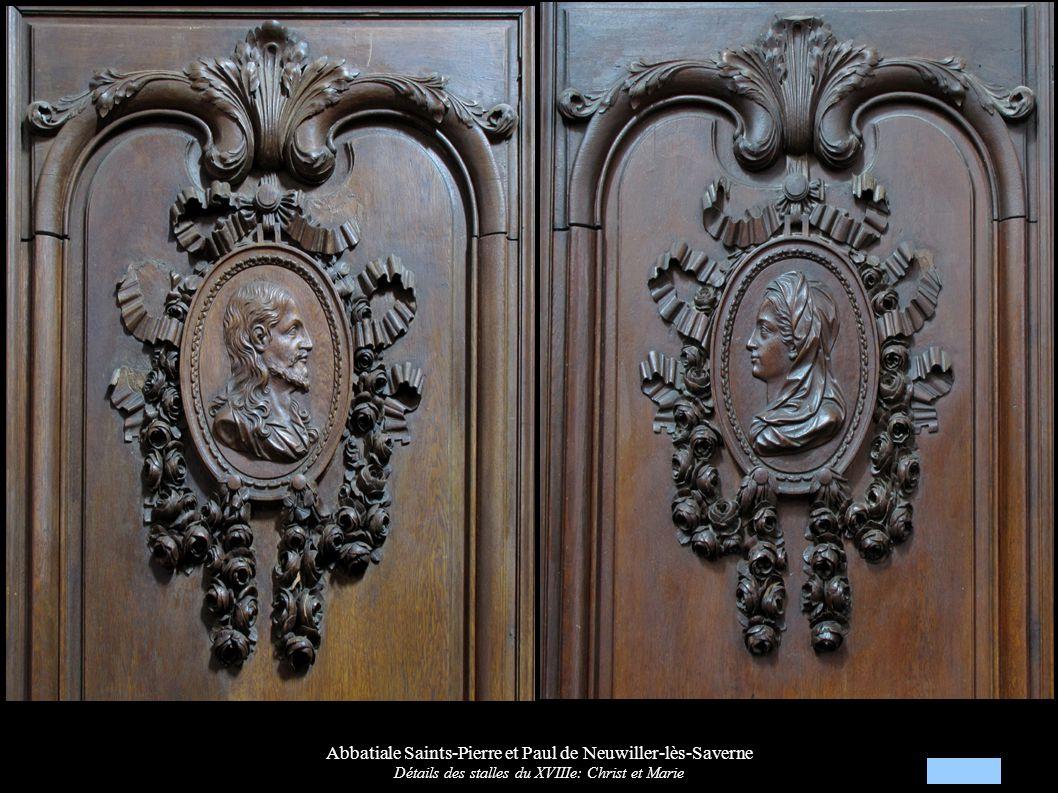 Abbatiale Saints-Pierre et Paul de Neuwiller-lès-Saverne Détails des stalles du XVIIIe: Christ et Marie