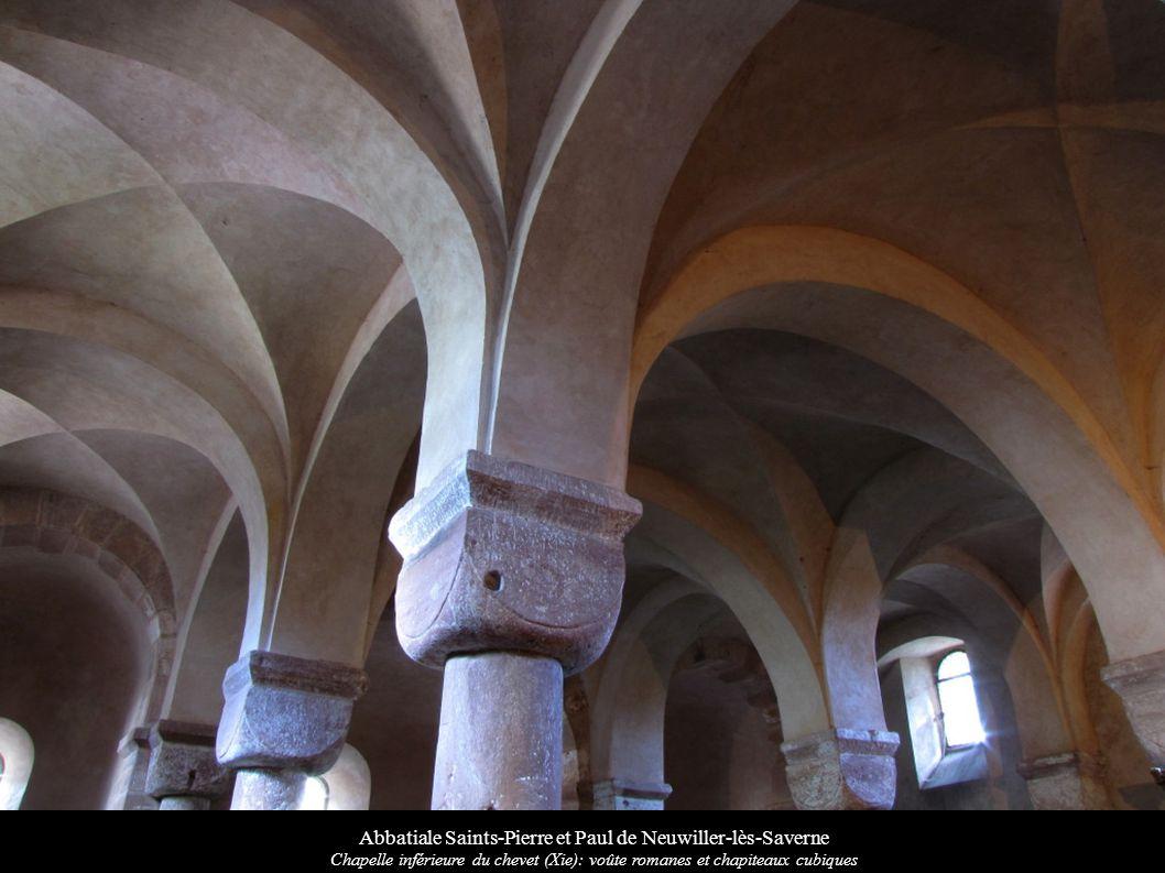 Abbatiale Saints-Pierre et Paul de Neuwiller-lès-Saverne Chapelle inférieure du chevet (Xie): voûte romanes et chapiteaux cubiques