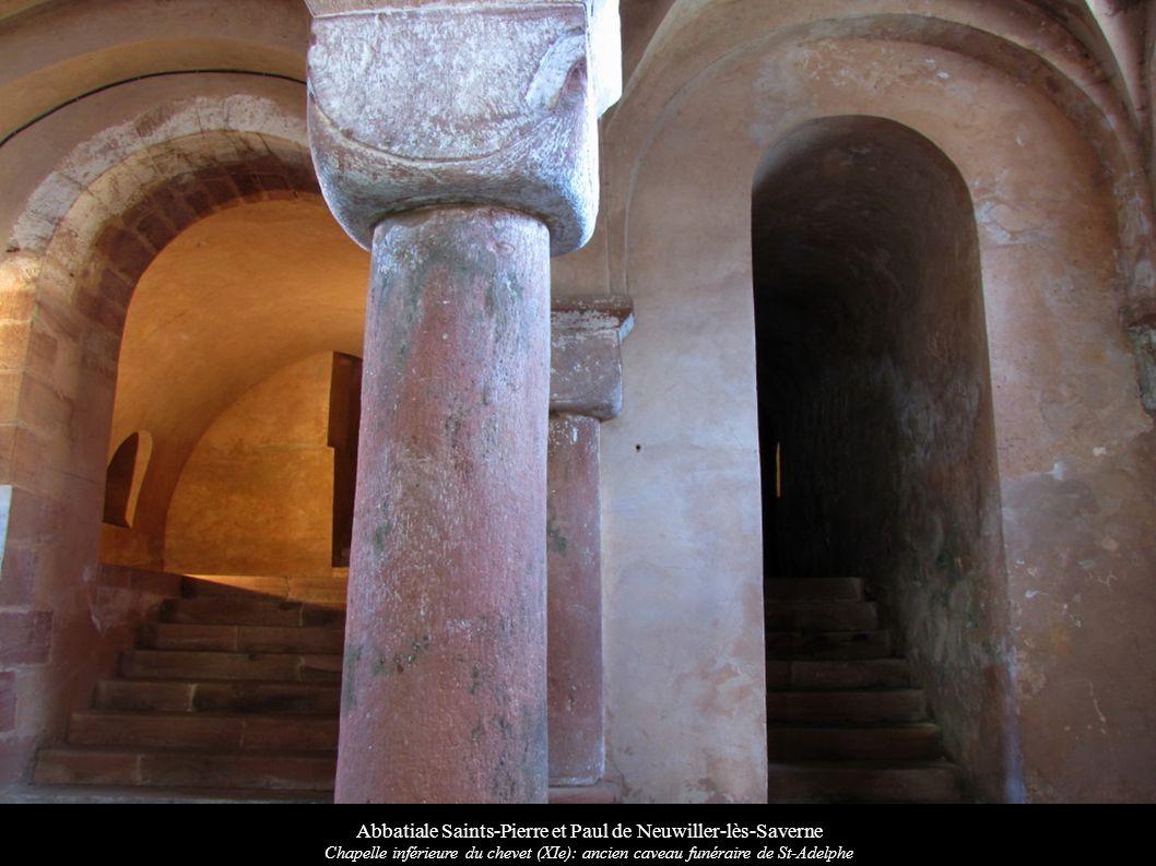 Abbatiale Saints-Pierre et Paul de Neuwiller-lès-Saverne Chapelle inférieure du chevet (XIe): ancien caveau funéraire de St-Adelphe