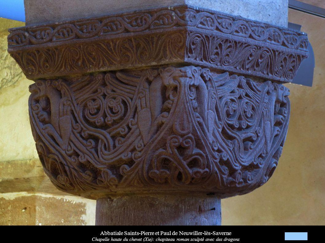Abbatiale Saints-Pierre et Paul de Neuwiller-lès-Saverne Chapelle haute du chevet (Xie): chapiteau roman sculpté avec des dragons