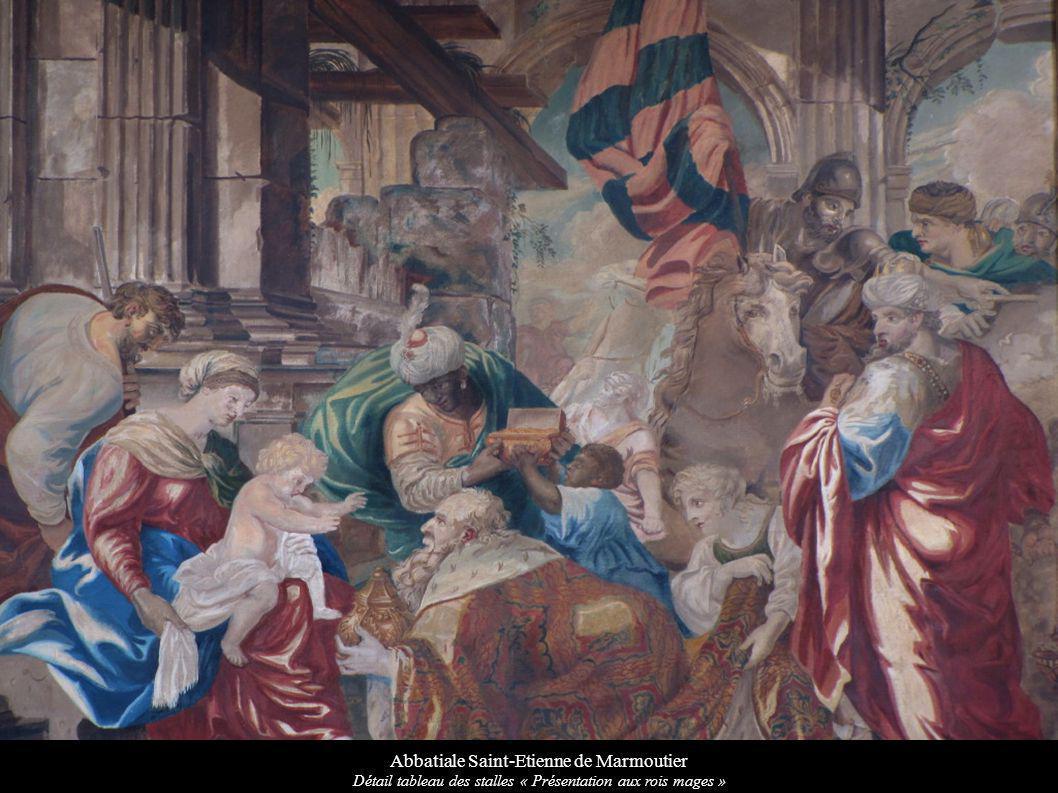 Abbatiale Saint-Etienne de Marmoutier Détail tableau des stalles « Présentation aux rois mages »