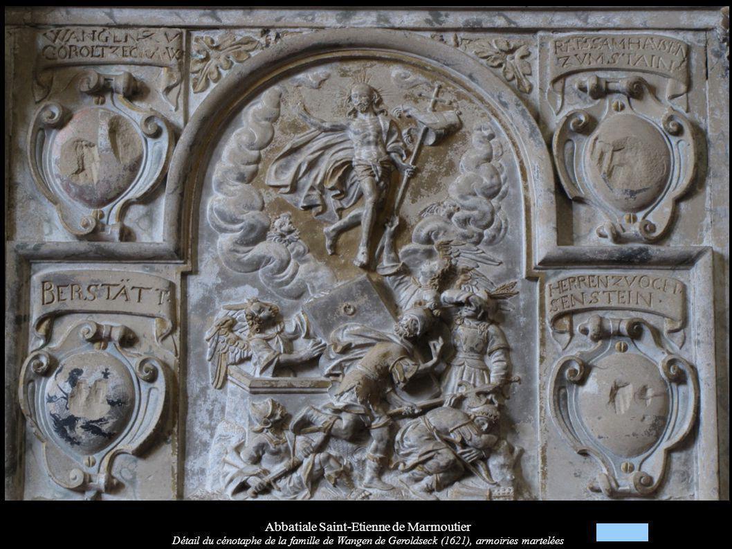 Abbatiale Saint-Etienne de Marmoutier Détail du cénotaphe de la famille de Wangen de Geroldseck (1621), armoiries martelées