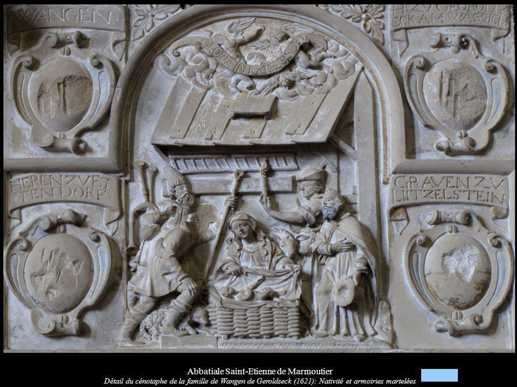 Abbatiale Saint-Etienne de Marmoutier Détail du cénotaphe de la famille de Wangen de Geroldseck (1621): Nativité et armoiries martelées