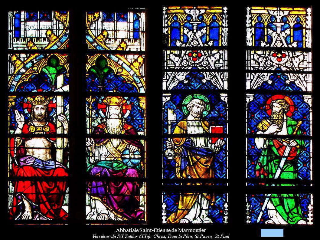 Abbatiale Saint-Etienne de Marmoutier Verrières de F.X.Zettler (XXe): Christ, Dieu le Père; St-Pierre, St-Paul