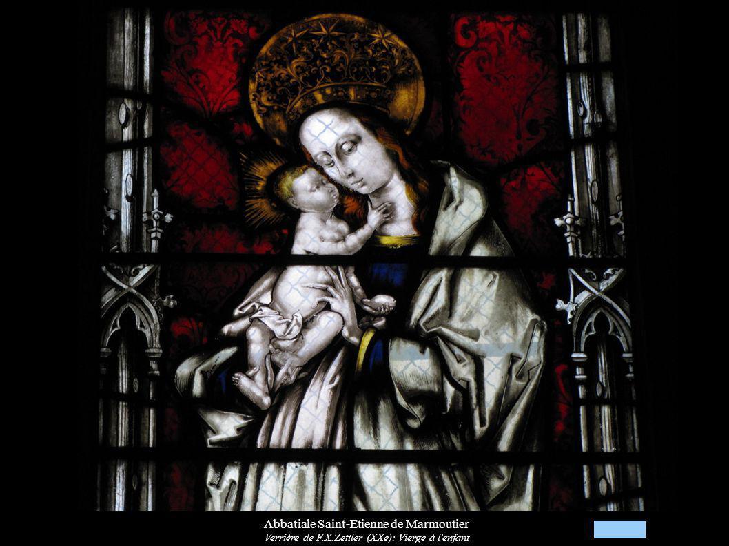 Abbatiale Saint-Etienne de Marmoutier Verrière de F.X.Zettler (XXe): Vierge à l'enfant