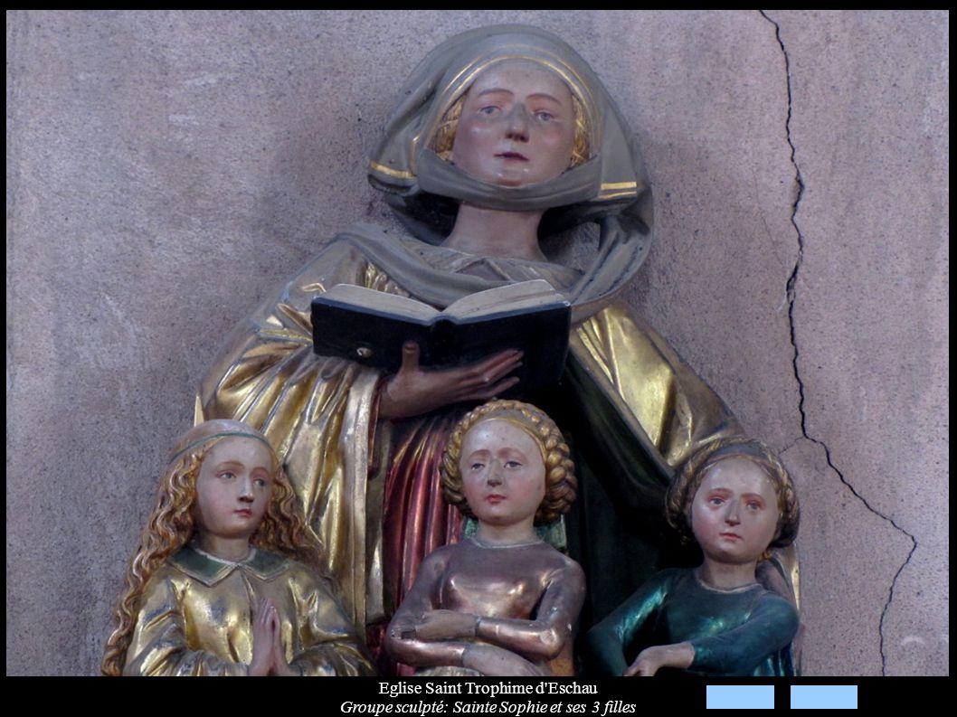 Eglise Saint Trophime d'Eschau Groupe sculpté: Sainte Sophie et ses 3 filles