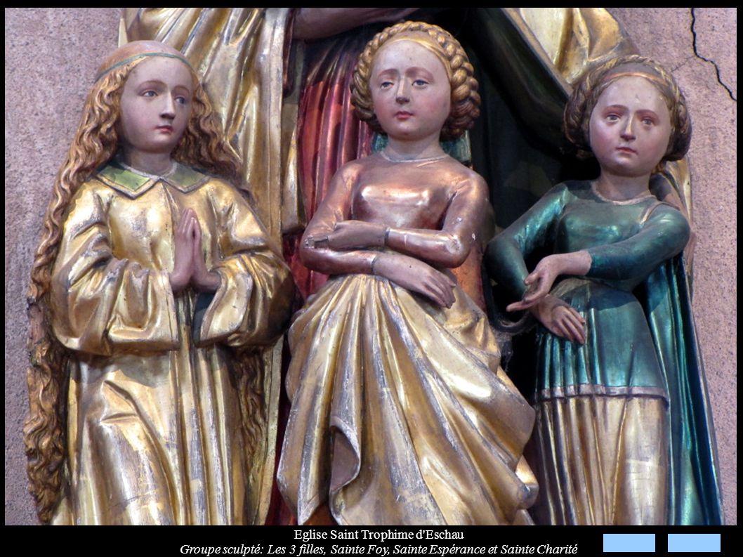 Eglise Saint Trophime d'Eschau Groupe sculpté: Les 3 filles, Sainte Foy, Sainte Espérance et Sainte Charité