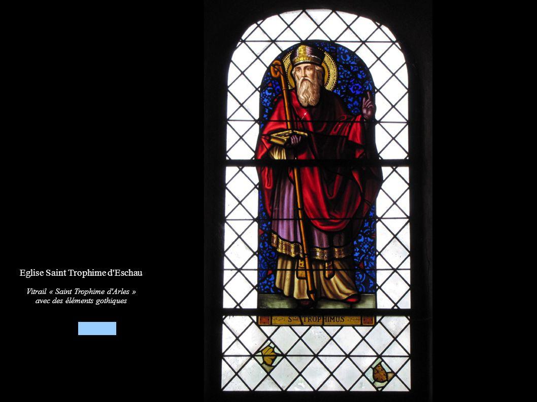 Eglise Saint Trophime d'Eschau Vitrail « Saint Trophime d'Arles » avec des éléments gothiques