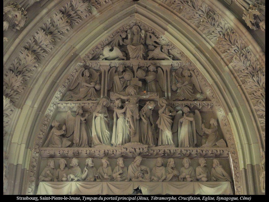 Strasbourg, Saint-Pierre-le-Jeune, Tympan du portail principal (Jésus, Tétramorphe, Crucifixion, Eglise, Synagogue, Cène)