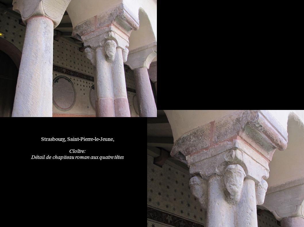 Strasbourg, Saint-Pierre-le-Jeune, Cloître: Détail de chapiteau roman aux quatre têtes