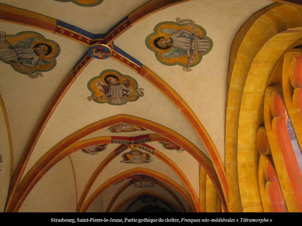 Strasbourg, Saint-Pierre-le-Jeune, Partie gothique du cloître, Fresques néo-médiévales « Tétramorphe »