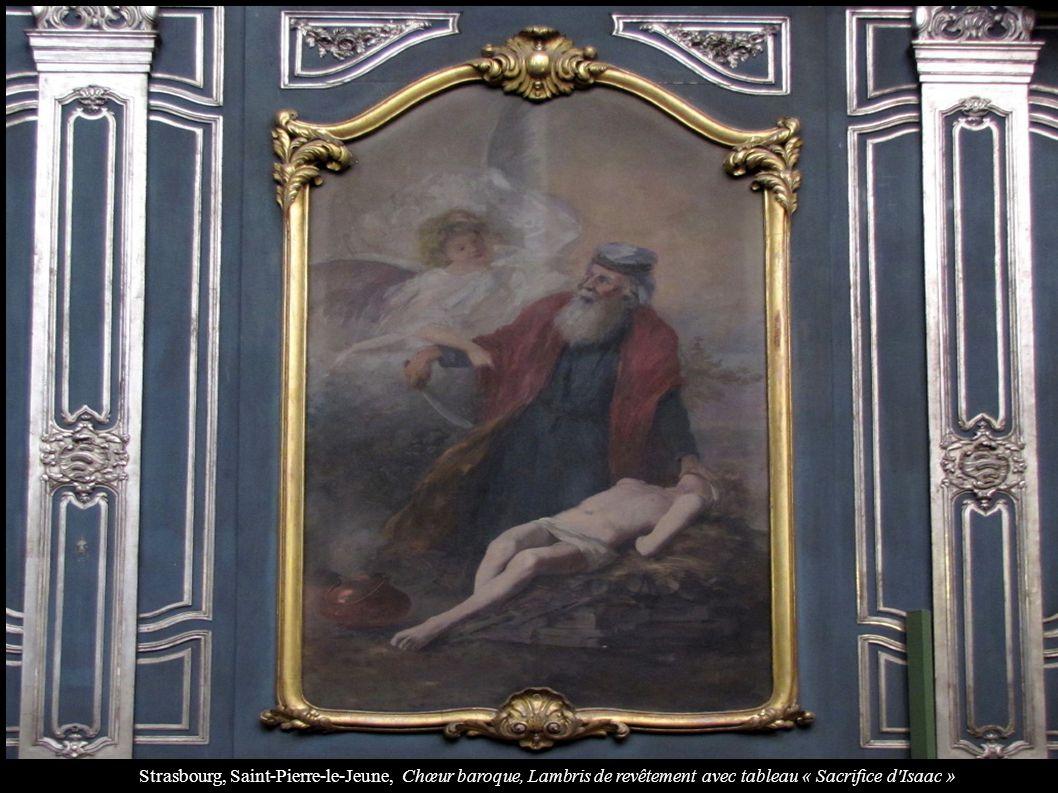Strasbourg, Saint-Pierre-le-Jeune, Chœur baroque, Lambris de revêtement avec tableau « Sacrifice d'Isaac »
