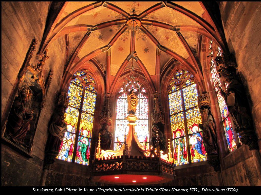 Strasbourg, Saint-Pierre-le-Jeune, Chapelle baptismale de la Trinité (Hans Hammer, XIVe), Décorations (XIXe)