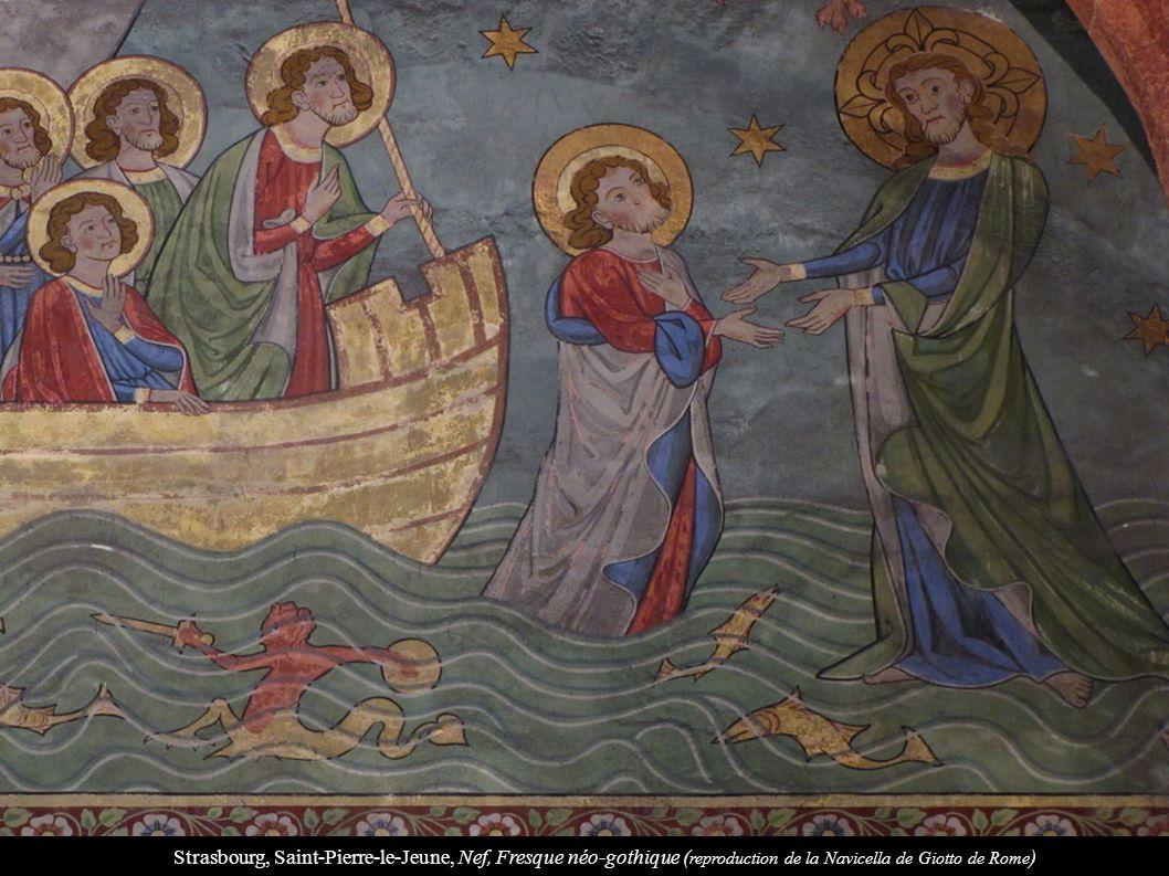 Strasbourg, Saint-Pierre-le-Jeune, Nef, Fresque néo-gothique ( reproduction de la Navicella de Giotto de Rome )