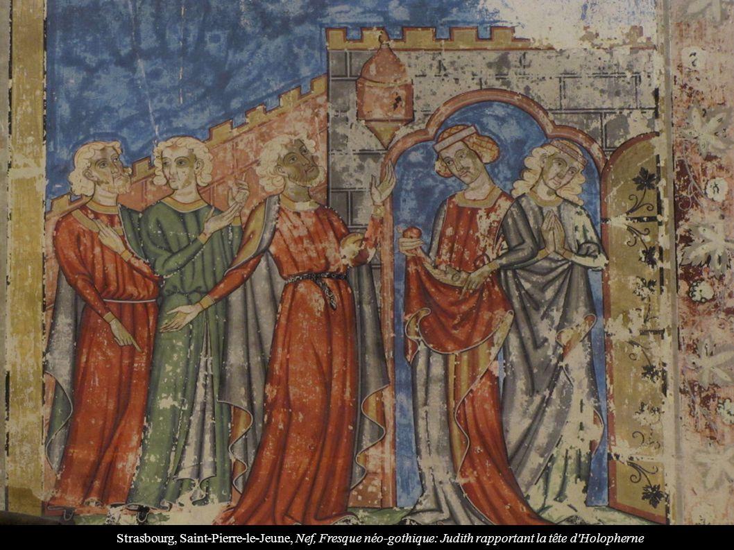 Strasbourg, Saint-Pierre-le-Jeune, Nef, Fresque néo-gothique: Judith rapportant la tête d'Holopherne
