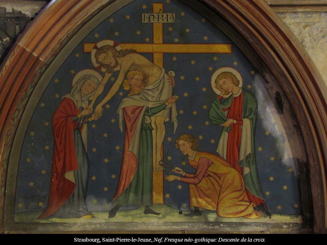 Strasbourg, Saint-Pierre-le-Jeune, Nef, Fresque néo-gothique: Descente de la croix
