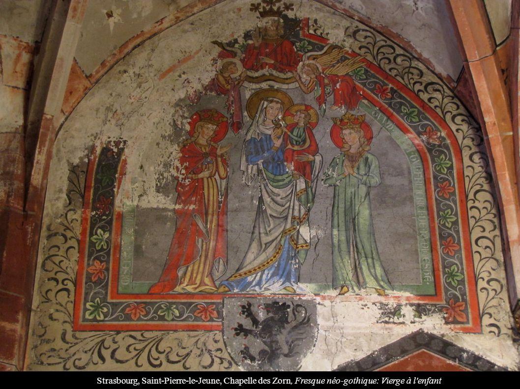 Strasbourg, Saint-Pierre-le-Jeune, Chapelle des Zorn, Fresque néo-gothique: Vierge à l'enfant