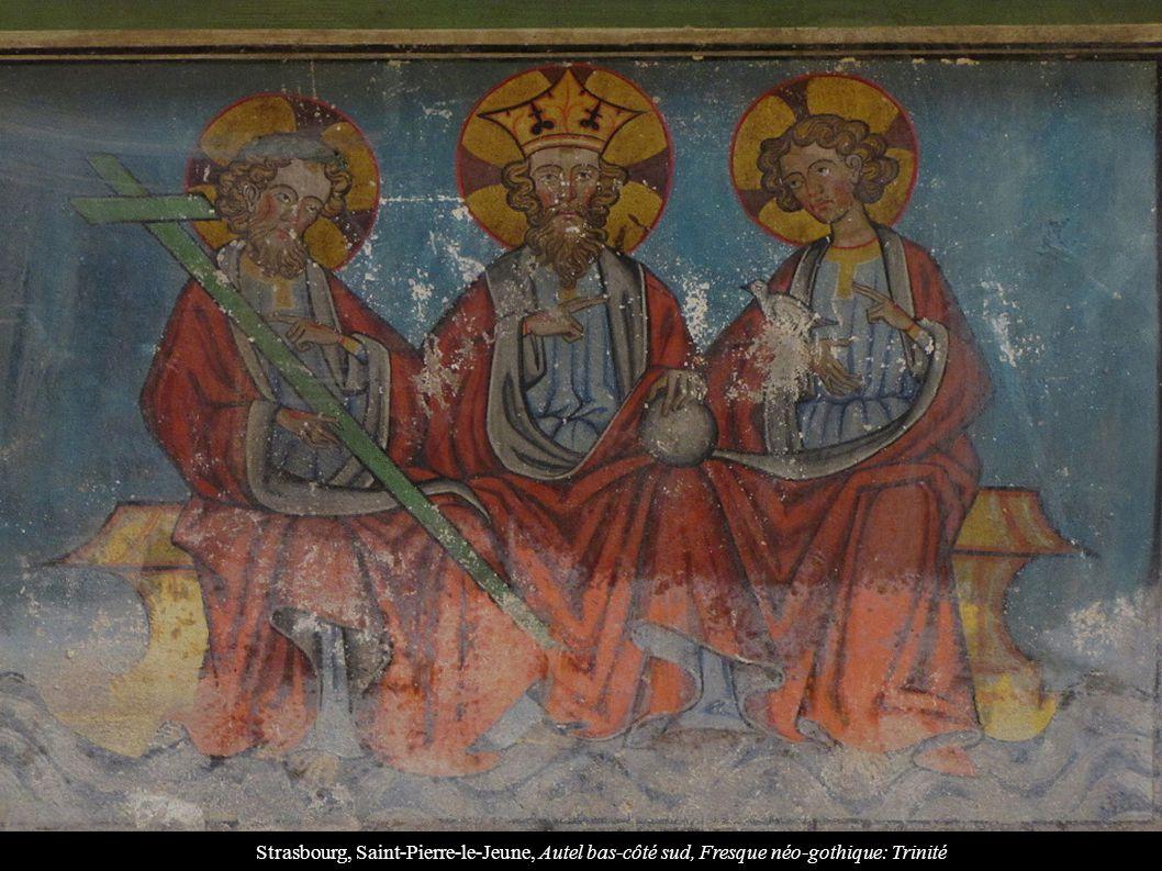 Strasbourg, Saint-Pierre-le-Jeune, Autel bas-côté sud, Fresque néo-gothique: Trinité