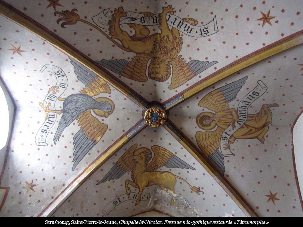 Strasbourg, Saint-Pierre-le-Jeune, Chapelle St-Nicolas, Fresque néo-gothique restaurée «Tétramorphe »
