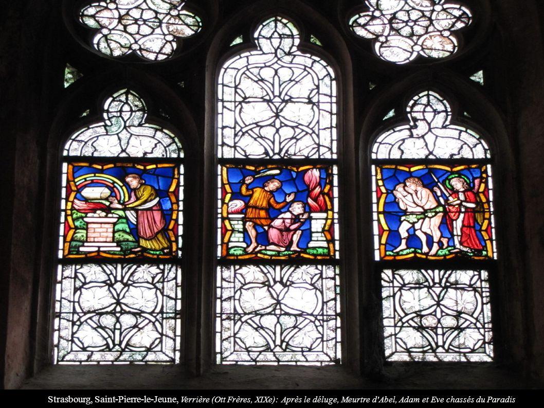 Strasbourg, Saint-Pierre-le-Jeune, Verrière (Ott Frères, XIXe): Après le déluge, Meurtre d'Abel, Adam et Eve chassés du Paradis
