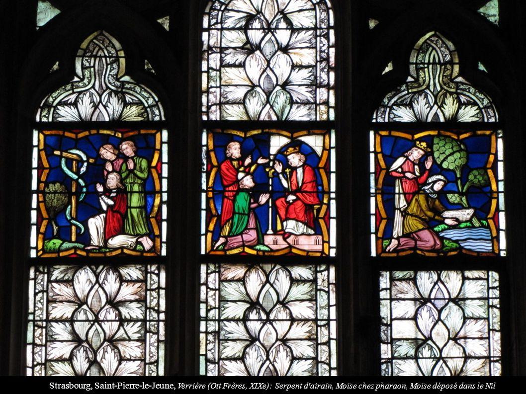 Strasbourg, Saint-Pierre-le-Jeune, Verrière (Ott Frères, XIXe): Serpent d'airain, Moïse chez pharaon, Moïse déposé dans le Nil