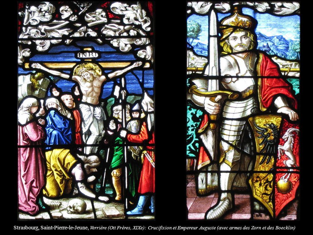 Strasbourg, Saint-Pierre-le-Jeune, Verrière (Ott Frères, XIXe): Crucifixion et Empereur Auguste (avec armes des Zorn et des Boecklin)