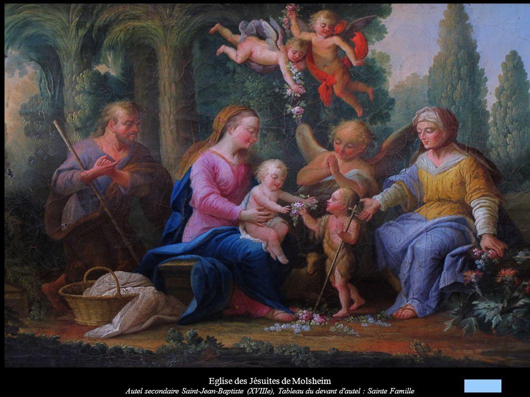 Eglise des Jésuites de Molsheim Autel secondaire Saint-Jean-Baptiste (XVIIIe), Tableau du devant d'autel : Sainte Famille