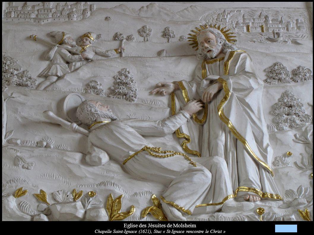 Eglise des Jésuites de Molsheim Chapelle Saint-Ignace (1621), Stuc « St-Ignace rencontre le Christ »