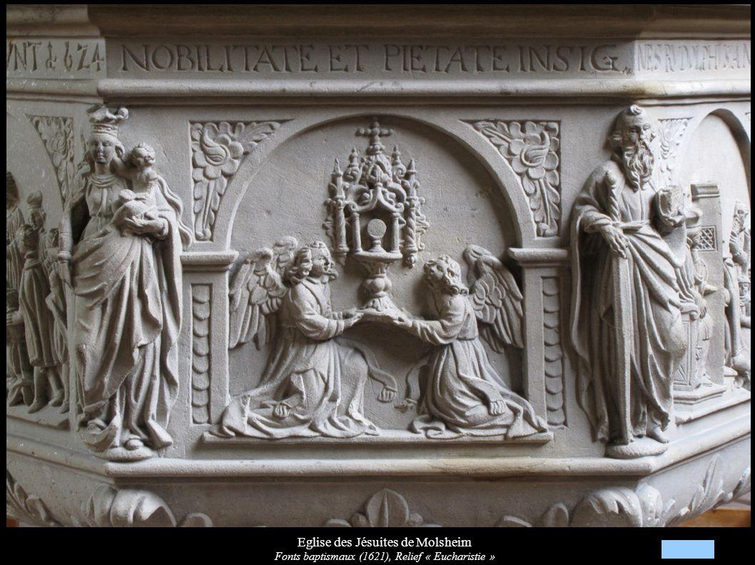 Eglise des Jésuites de Molsheim Fonts baptismaux (1621), Relief « Eucharistie »