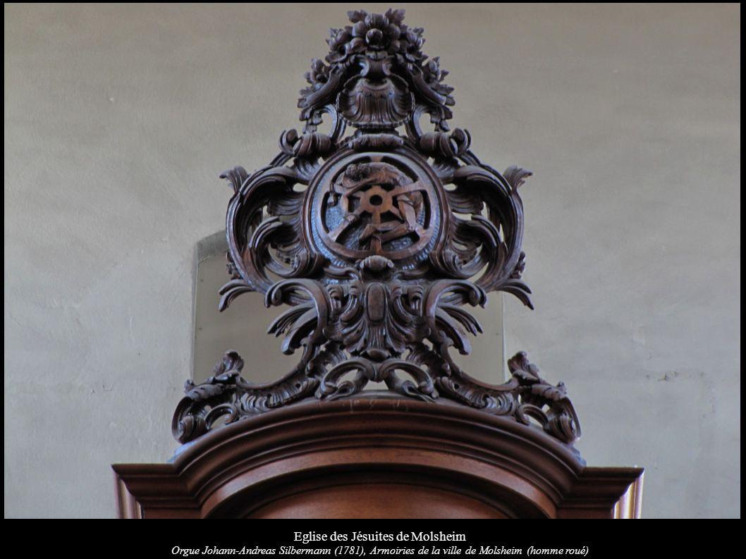 Eglise des Jésuites de Molsheim Orgue Johann-Andreas Silbermann (1781), Armoiries de la ville de Molsheim (homme roué)
