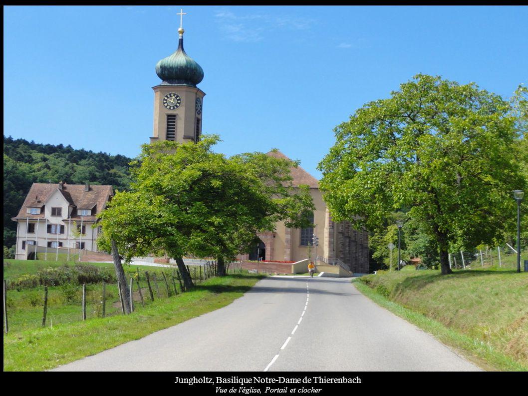 Jungholtz, Basilique Notre-Dame de Thierenbach Vue de l église, façade sud avec bâtiment du prieuré