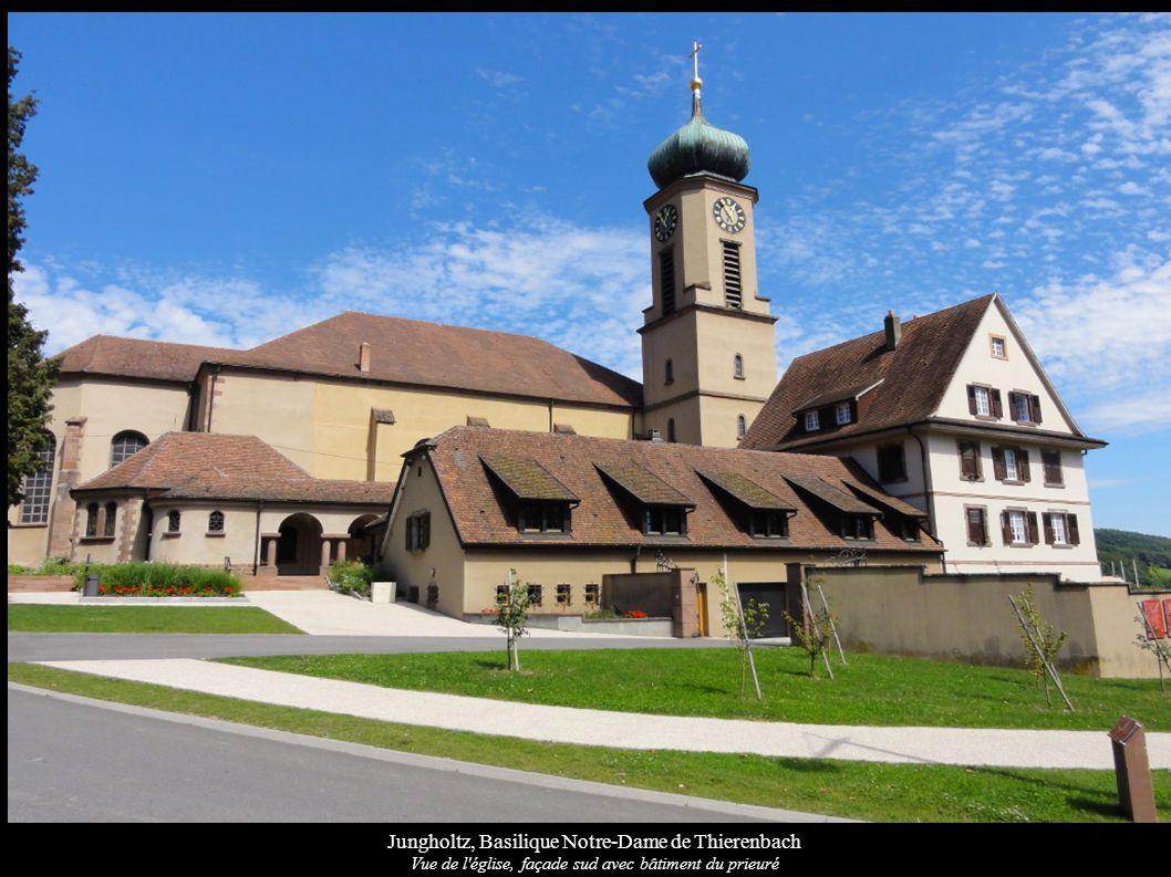 Jungholtz, Basilique Notre-Dame de Thierenbach Vue de l'église, façade sud avec bâtiment du prieuré