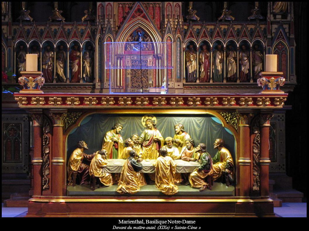 Marienthal, Basilique Notre-Dame Devant du maître-autel (XIXe) « Sainte-Cène »