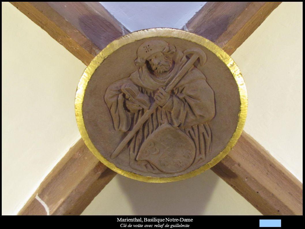 Marienthal, Basilique Notre-Dame Clé de voûte avec relief de guillelmite