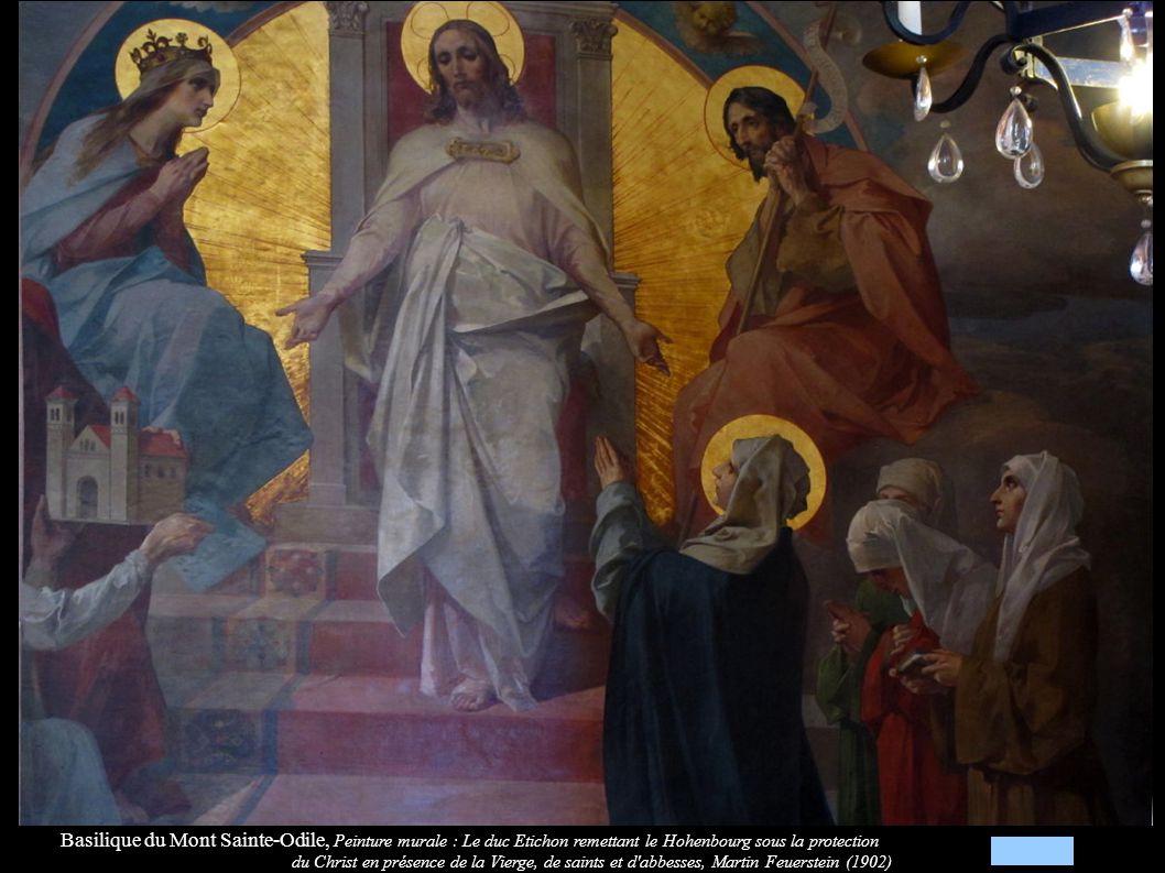 Basilique du Mont Sainte-Odile, Peinture murale : Le duc Etichon remettant le Hohenbourg sous la protection du Christ en présence de la Vierge, de saints et d abbesses, Martin Feuerstein (1902)