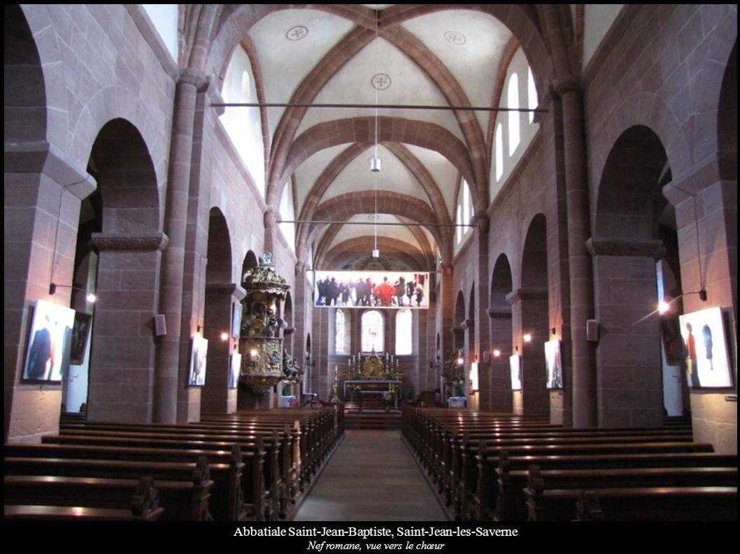 Abbatiale Saint-Jean-Baptiste, Saint-Jean-les-Saverne Nef romane, vue vers le chœur