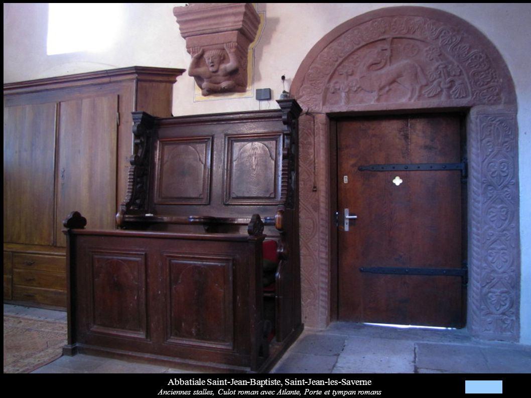 Abbatiale Saint-Jean-Baptiste, Saint-Jean-les-Saverne Anciennes stalles, Culot roman avec Atlante, Porte et tympan romans