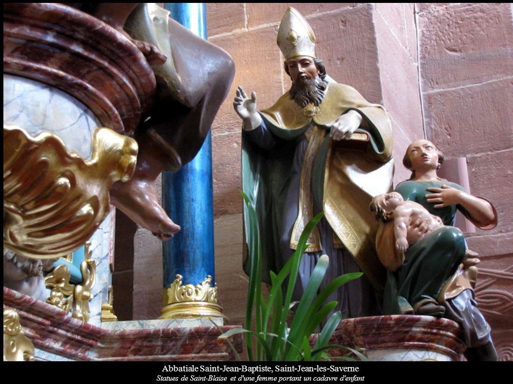 Abbatiale Saint-Jean-Baptiste, Saint-Jean-les-Saverne Statues de Saint-Blaise et d'une femme portant un cadavre d'enfant
