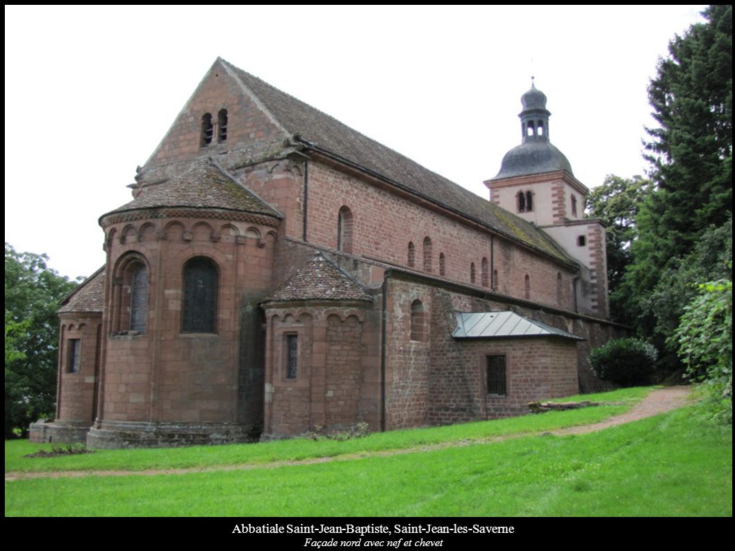 Abbatiale Saint-Jean-Baptiste, Saint-Jean-les-Saverne Chevet avec frises et corbeaux romans