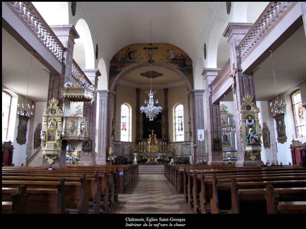 Châtenois, Eglise Saint-Georges Plafond peint de la nef « Couronnement de Marie »