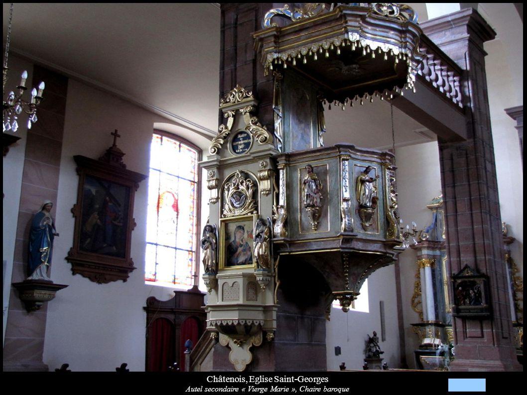 Châtenois, Eglise Saint-Georges Grille de chœur, Croix de procession, fonts baptismaux et autel secondaire