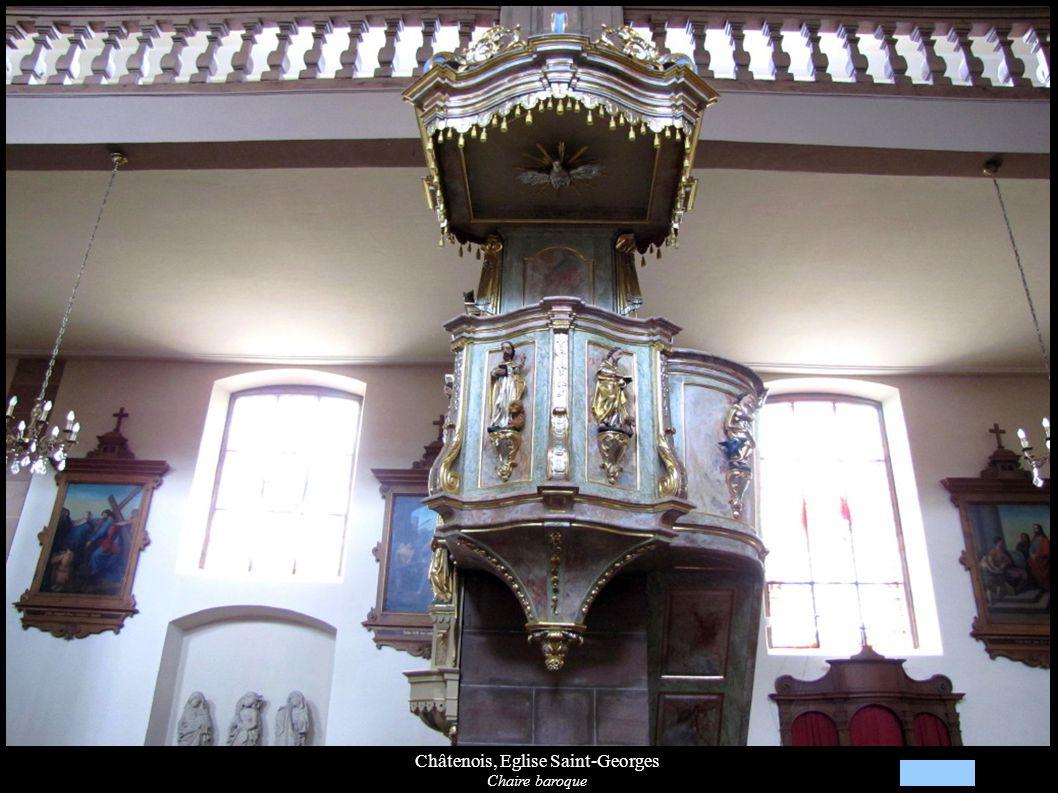 Châtenois, Eglise Saint-Georges Détails de la croix de procession incrustée de nacre (1763)