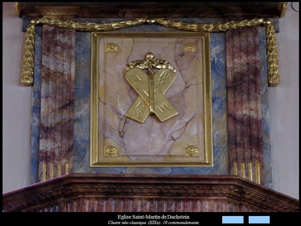 Eglise Saint-Martin de Dachstein Chaire néo-classique (XIXe): 10 commandements