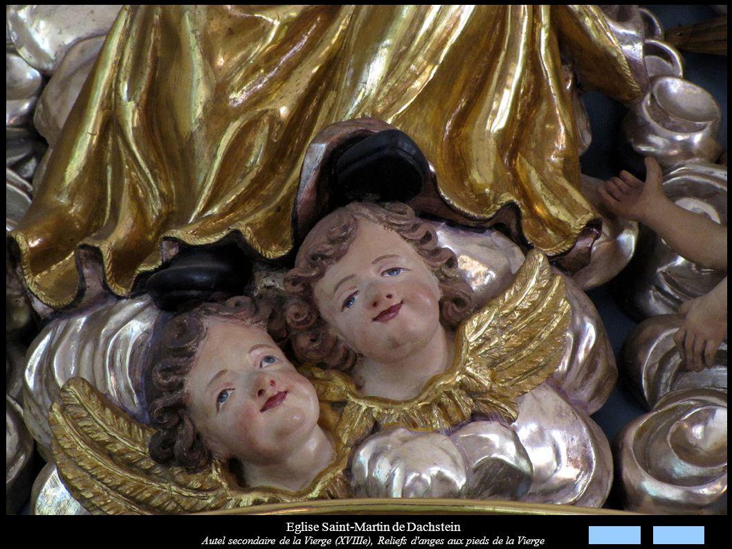 Eglise Saint-Martin de Dachstein Autel secondaire de la Vierge (XVIIIe), Reliefs d'anges aux pieds de la Vierge