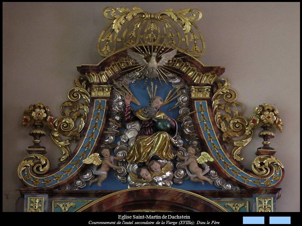 Eglise Saint-Martin de Dachstein Couronnement de l'autel secondaire de la Vierge (XVIIIe); Dieu le Père